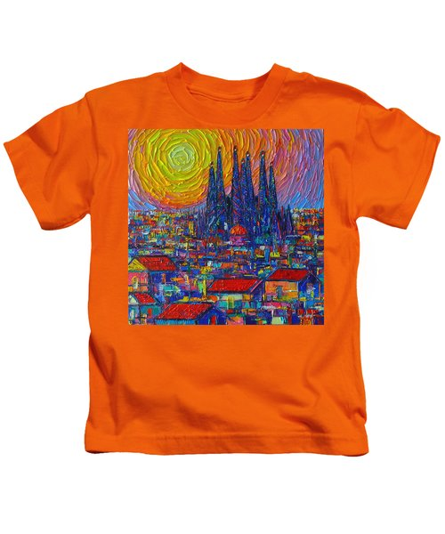 Barcelona Colorful Sunset Over Sagrada Familia Abstract City Knife Oil Painting Ana Maria Edulescu Kids T-Shirt