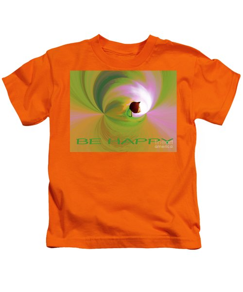 Be Happy, Green-pink With Physalis Kids T-Shirt