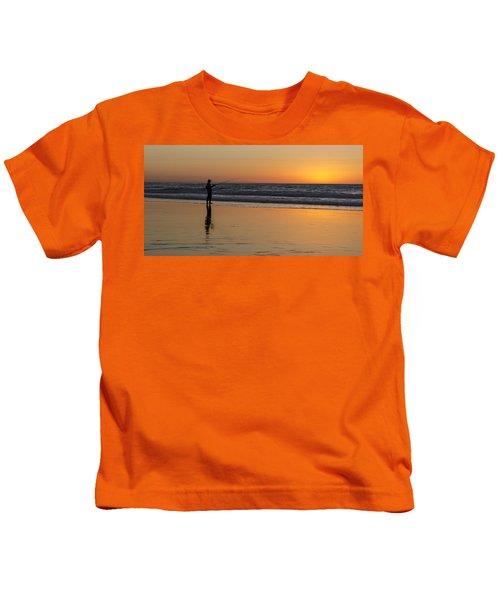 Beach Fishing At Sunset Kids T-Shirt
