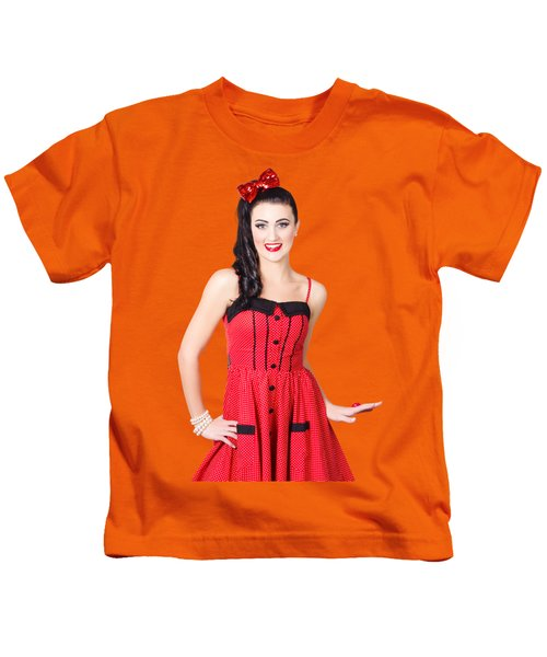 Beautiful Pinup Girl With Pretty Smile Kids T-Shirt
