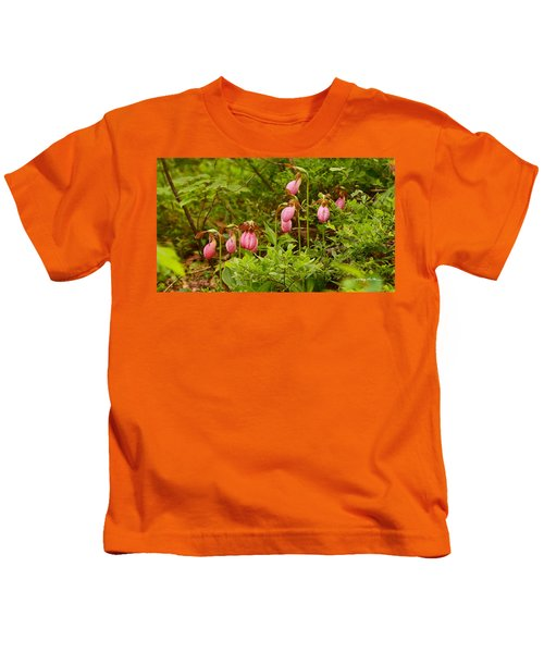 Bed Of Lady's Slippers Kids T-Shirt