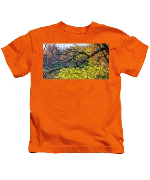 Black Branches Through Bright Autumn Trees Kids T-Shirt