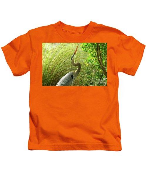 Blue Heron Series Getting The Twig Kids T-Shirt