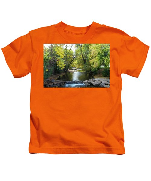 Boulder Creek Tumbling Through Early Fall Foliage Kids T-Shirt