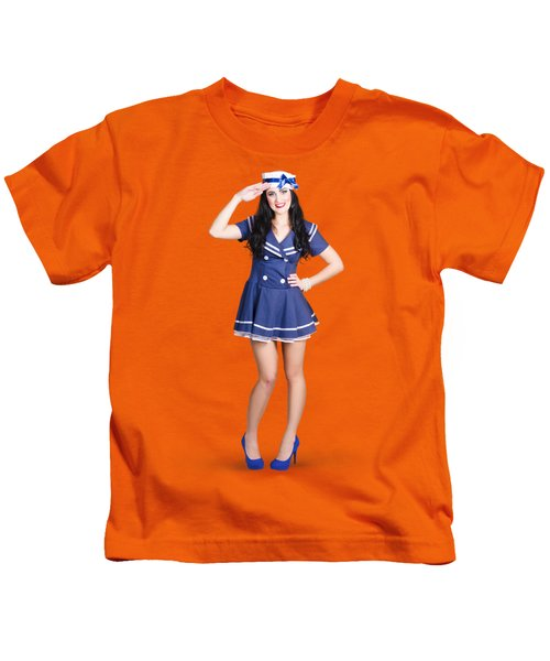 British Navy Blue Pin Up Girl Saluting Kids T-Shirt