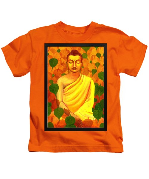 Buddha In Green Leaves Kids T-Shirt