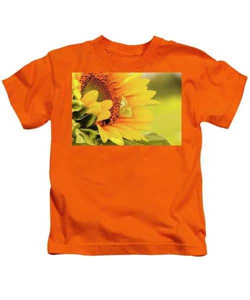 Butterfly On Sunflower Kids T-Shirt