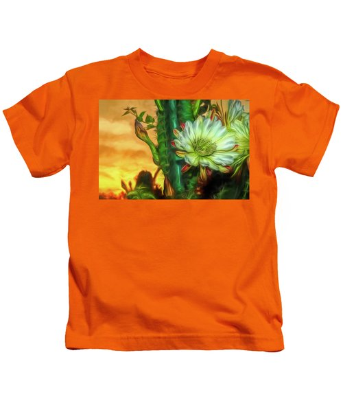 Cactus Flower At Sunrise Kids T-Shirt