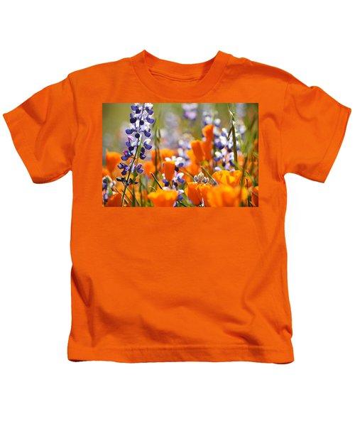 California Poppies And Lupine Kids T-Shirt