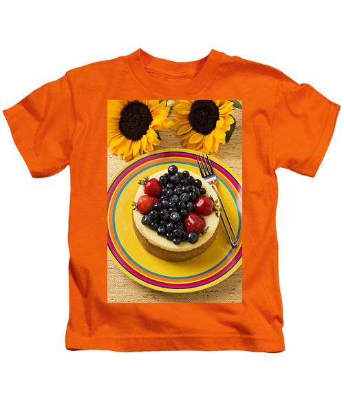 Cheesecake With Fruit Kids T-Shirt by Garry Gay