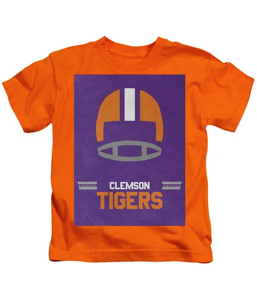 Clemson Tigers Vintage Football Art Kids T-Shirt
