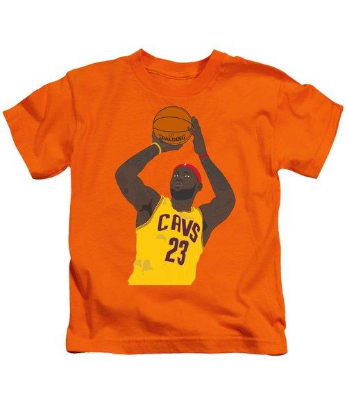 Cleveland Cavaliers - Lebron James - 2014 Kids T-Shirt by Troy Arthur Graphics