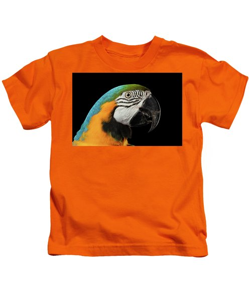 Closeup Portrait Of A Blue And Yellow Macaw Parrot Face Isolated On Black Background Kids T-Shirt