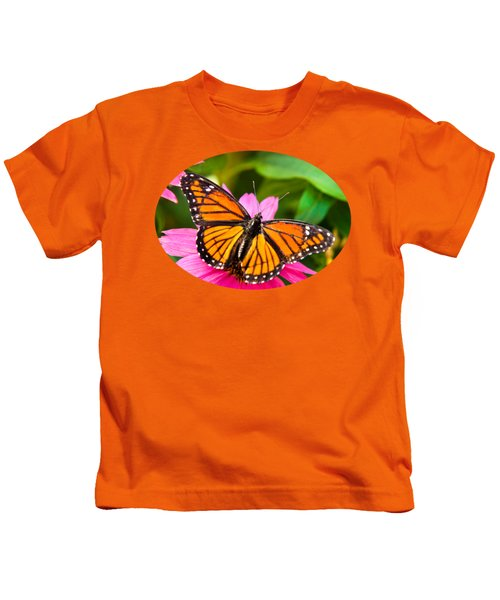 Colorful Butterflies - Orange Viceroy Butterfly Kids T-Shirt by Christina Rollo