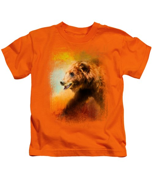 Colorful Expressions Grizzly Bear Kids T-Shirt by Jai Johnson