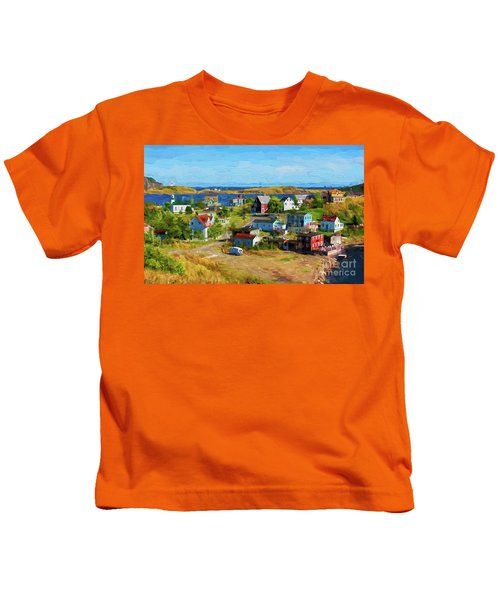 Colorful Homes In Trinity, Newfoundland - Painterly Kids T-Shirt