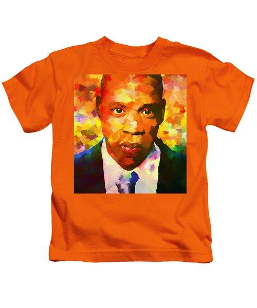 Colorful Jay Z Palette Knife Kids T-Shirt by Dan Sproul