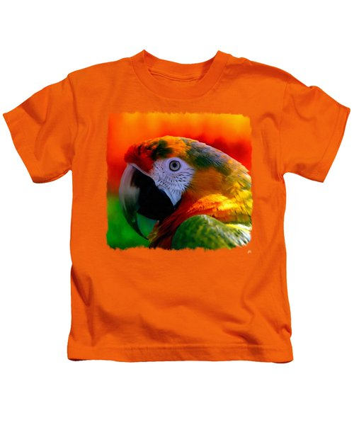 Colorful Macaw Parrot Kids T-Shirt by Linda Koelbel