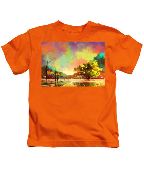 Kids T-Shirt featuring the painting Colorful Natural by Tithi Luadthong