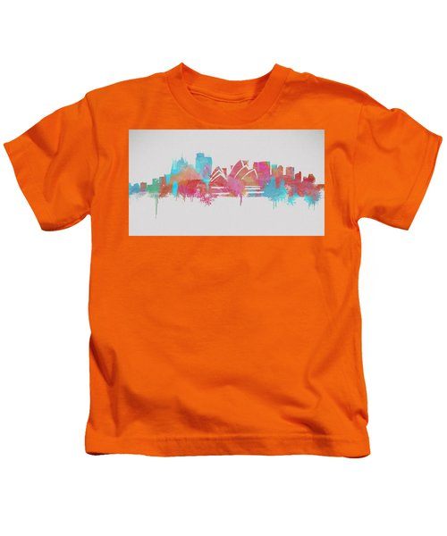 Colorful Sydney Skyline Silhouette Kids T-Shirt by Dan Sproul
