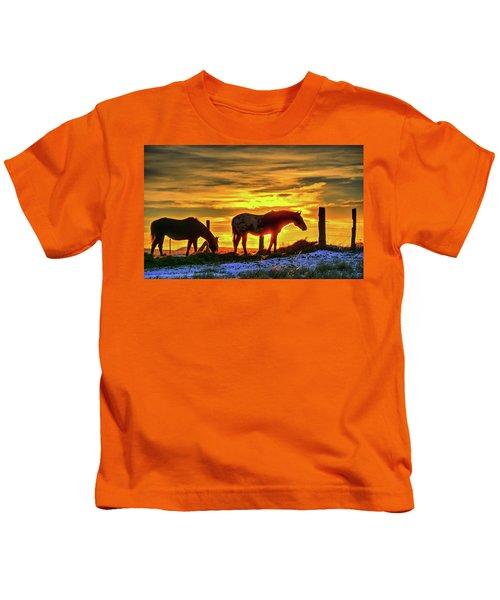 Dawn Horses Kids T-Shirt