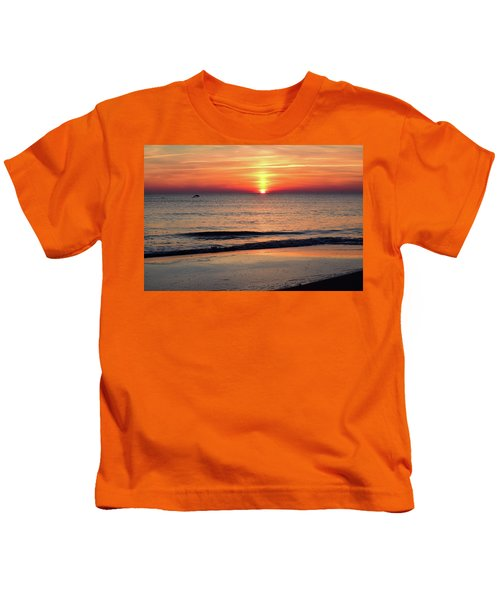 Dolphin Jumping In The Sunrise Kids T-Shirt