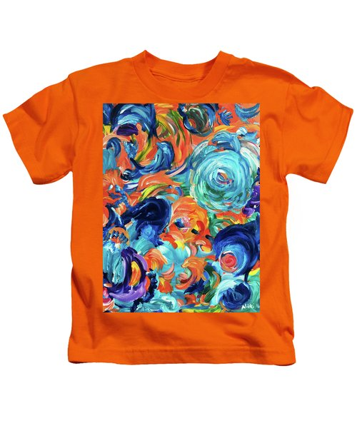 Dolphins Playing In Peonies Kids T-Shirt