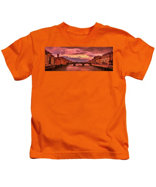 Saint Trinity Bridge From Ponte Vecchio At Red Sunset In Florence, Italy Kids T-Shirt