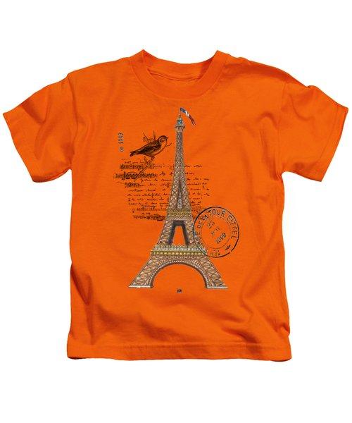 Eiffel Tower T Shirt Design Kids T-Shirt by Bellesouth Studio