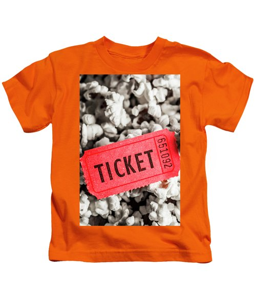 Event Ticket Lying On Pile Of Popcorn Kids T-Shirt
