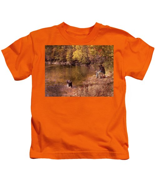 Father,son And Dog Kids T-Shirt