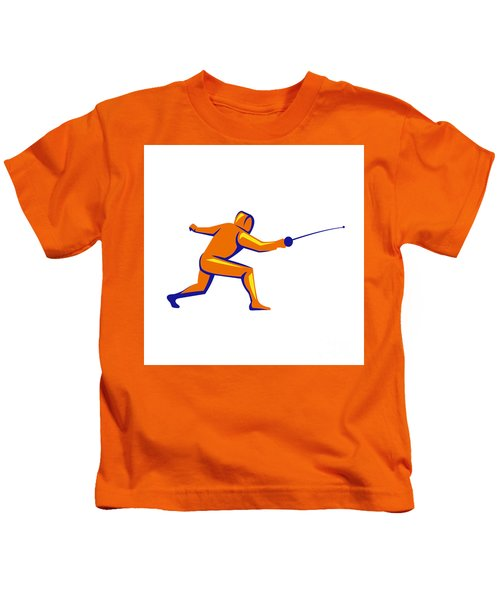 Fencing Thrust Side View Retro Kids T-Shirt