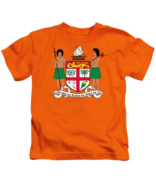 Fiji Coat Of Arms Kids T-Shirt by Movie Poster Prints