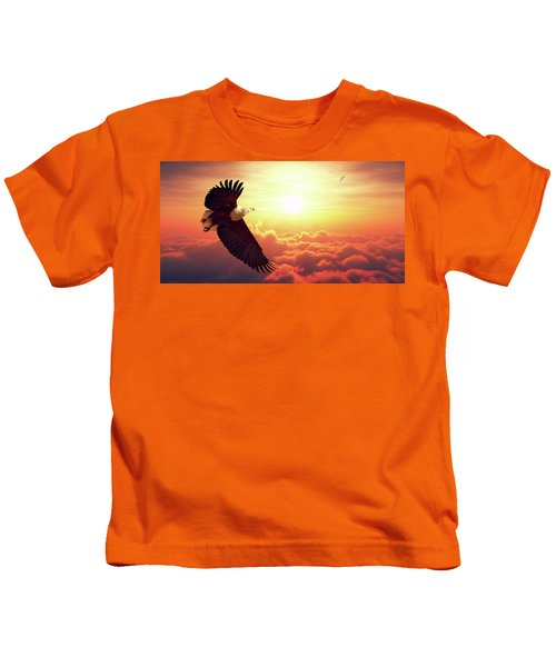 Fish Eagle Flying Above Clouds Kids T-Shirt