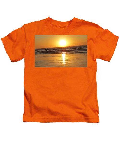Fisherman At Sunrise Kids T-Shirt