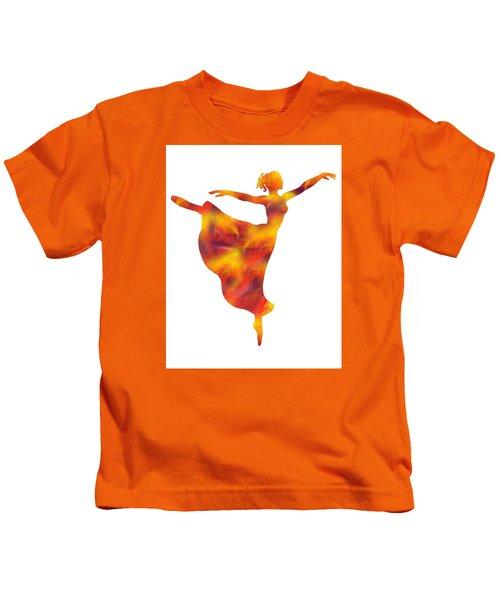Flaming Dance Ballerina Silhouette Kids T-Shirt