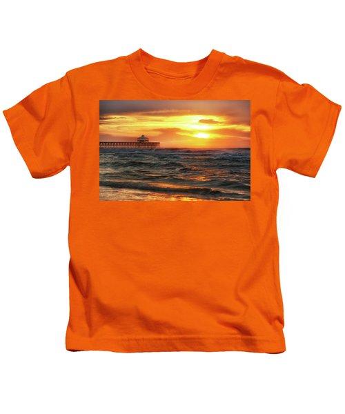 Folly Beach Pier Sunrise Kids T-Shirt