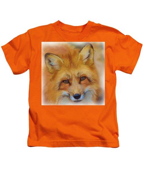 Fox Face Taken From Watercolour Painting Kids T-Shirt