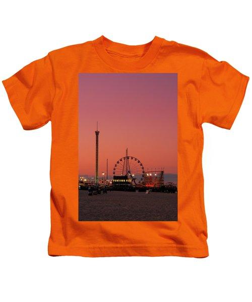Funtown Pier At Sunset II - Jersey Shore Kids T-Shirt