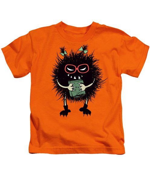 Geek Evil Bug Character Loves Reading Kids T-Shirt