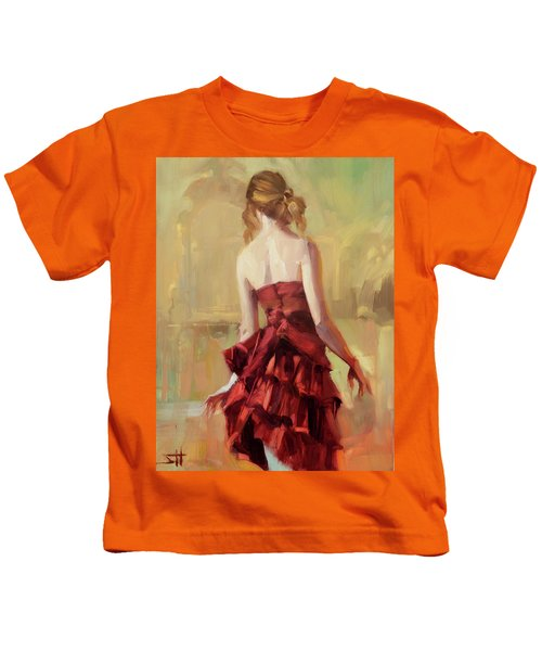 Girl In A Copper Dress II Kids T-Shirt