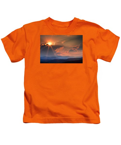 God Rays Over N C  Mountains Kids T-Shirt