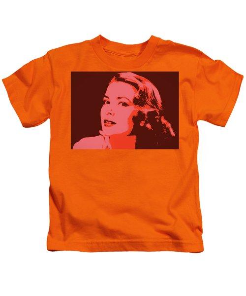Grace Kelly Pop Art Kids T-Shirt by Dan Sproul