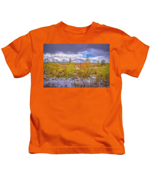 Grand Teton Fall Snowfall Kids T-Shirt
