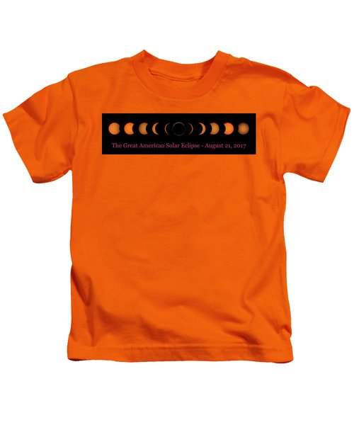 Great American Solar Eclipse Composite With Caption Kids T-Shirt