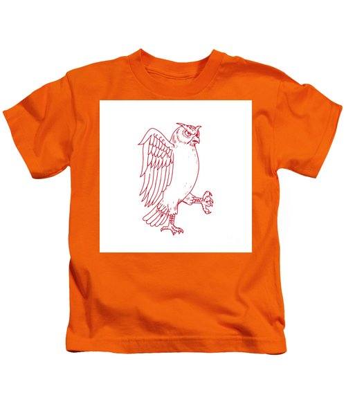 Great Horned Owl Marching Drawing Kids T-Shirt