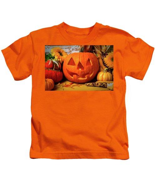 Halloween Pumpkin Smiling Kids T-Shirt