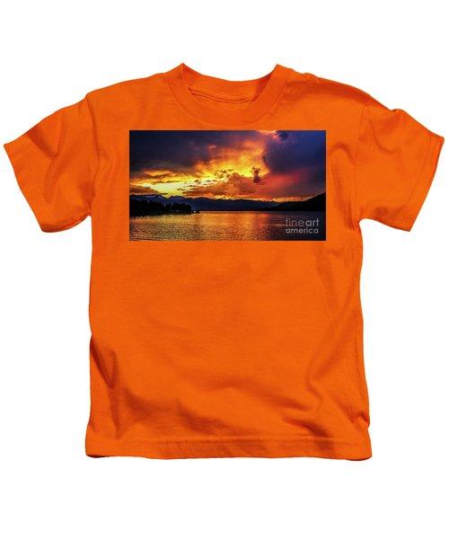 Hebgen Lake Sunset Kids T-Shirt