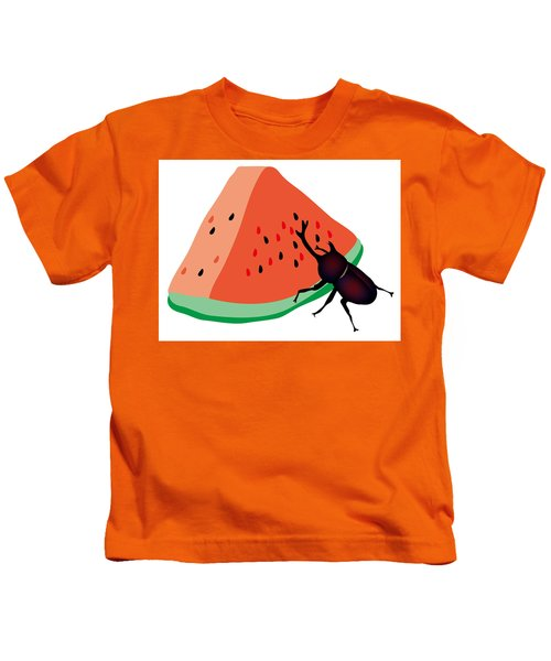 Horn Beetle Is Eating A Piece Of Red Watermelon Kids T-Shirt
