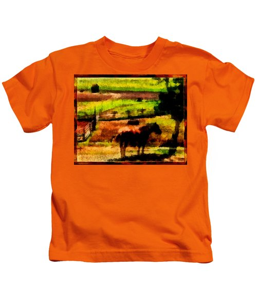 Horse At Pasture Kids T-Shirt